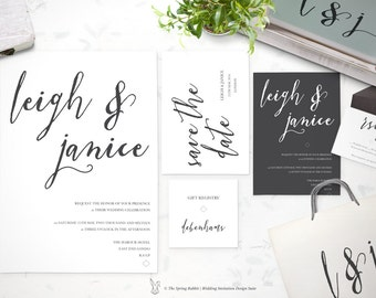 Clean White Wedding Invitation Suite - Printable and Customizable Wedding Invites - DIY Wedding Invitation Set