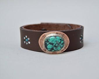 Turquoise Blue Flower Copper Leather Bracelet. Boho. South Western Design. Cowgirl . Bracelet. Boho . By Nin and Bumm