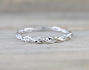 14k White Gold Round Cut Diamond Rope Twined Vine Engagement Pave Stackable Stacking Promise Ring Anniversary