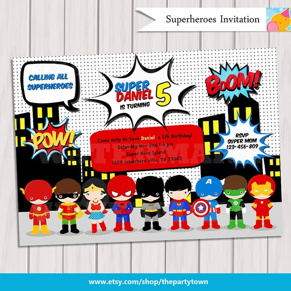 Super hero birthday party pop art superhero invitation super hero birthday party pop art superhero invitation invite card comics pop art personalized printable pdf bookmarktalkfo Gallery
