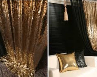 Sequin Curtain Gold, Drape for your Wedding and Events! Home decor.Background, backdrop for photo booth.Metallic