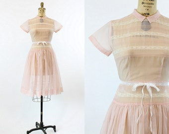 50s Dress Sheer XS / 1950s Vintage Pink Lace Nylon Frock / Cupcake Frosting Dress