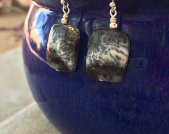 Black and White Stone Earrings, Dendritic opal earrings, dendrite opal earrings, monotone earrings, sterling silver gemstone earrings