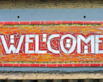 Welcome Sign in Red and Orange Arts and Crafts Style