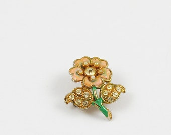 Vintage Enamel, Faux Pearl, and Rhinestone Flower Brooch