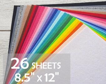 "8.5"" x 12"" hard stiff felt, felt set 26 sheets, 1.2 mm, 100% Eco-polyester, Korean Felt for handmade"