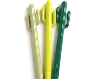Set of 3 Cactus Gel Pen Green / Yellow / Sand