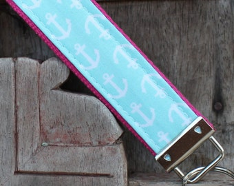 READY TO SHIP-Beautiful Key Fob/Keychain/Wristlet-White Anchors