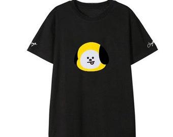 Kpop BTS Cartoon Album T-Shirt | Unisex Short Sleeve Design Cotton Tees | bts t-shirt for women and men, bts t shirt bt21