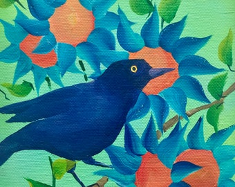 Grackle in the Sunflower Garden on Deep Edge Canvas V3