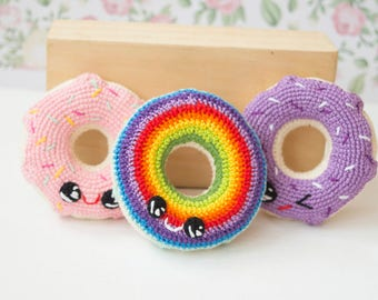 Rainbow Donut Baby toy, Crochet Toy, Amigirumi Winking Donut,  Play Food,Lifesize  Plush  sweets, Baby shower gift, Photography Photo Prop