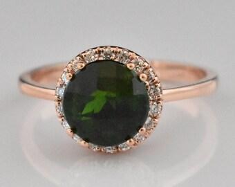 14K Rose Gold Green Tourmaline Ring | Statement Ring | Diamond Halo | Wedding Ring | Anniversary Ring | Engagement Ring | Handmade Jewelry