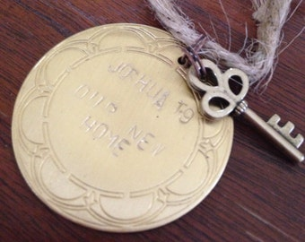 Joshua 1:9 hand stamped key moving ornament