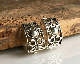 Vintage Filigree Silver Earrings, Vintage Clip On Earrings, Vintage Earrings, Etsy, Etsy Jewelry