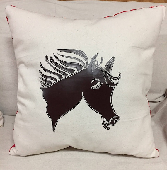 Western Decorative Horse Pillow   Cute Horse Designed Pillow   Canvas Front Pillow   Soft Red Pillow Back