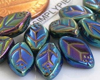Iris Green Leaf Czech Glass Beads 12mm: 25 Pcs