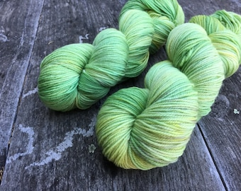 Hand dyed yarn Dandy sock -'Slime'