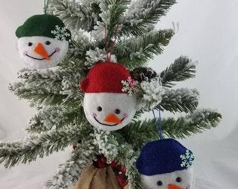 Snowman Felt Christmas Ornaments- Set of 3