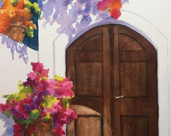 Santa Barbara Color 14x9.5 watercolor painting floral purples, oranges, reds, pinks, and greens on white wall