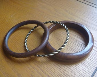 wood and bronze stacking bangles, 3 vintage stacking bangles