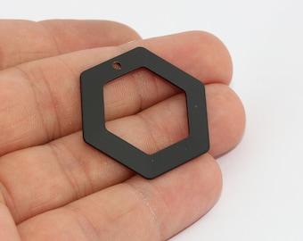 3 Pcs 30mm Black Hexagon Pendant, Hexagon Necklace, Geometric Charms, MTE617