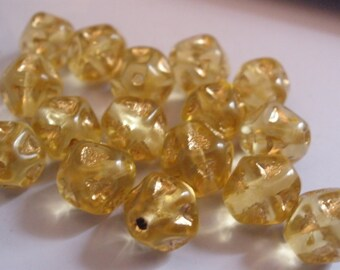 Vintage Glass Beads (16)(8mm) Golden Dried Pea Beads
