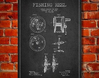 1896 Fishing Reel Patent, Canvas Print, Wall Art, Home Decor, Gift Idea