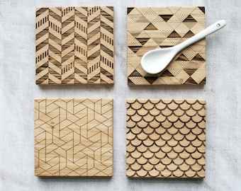 Geometric Coasters | Beautiful Solid Oak | New Home Gift | Anniversary Present | Laser Machined | Engraved Oak | Gifts under 5
