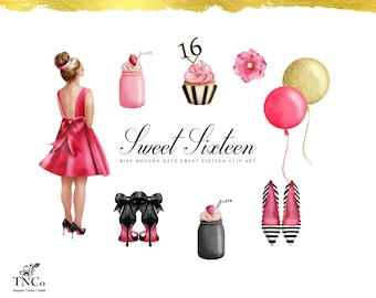 Sweet 16 Clipart - Sweet 16 Printables - Sweet 16 invitation graphics - Cupcake Clip art - Fashion illustration - Commercial use Clip art