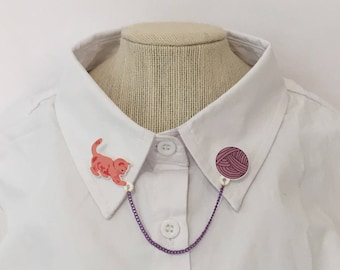 Cat and Yarn Collar Clips [sweater clips pins brooches collar chain kitten kitty]