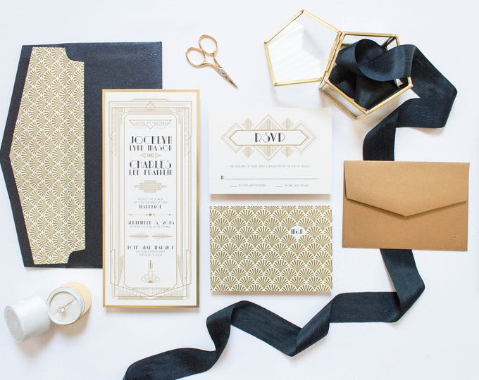 SAMPLE Art Deco Gatsby Themed Gold and Black Wedding Invitation, Envelope & RSVP
