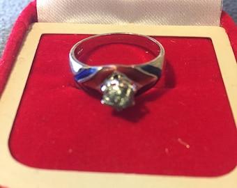 Natural raw green diamond silver ring