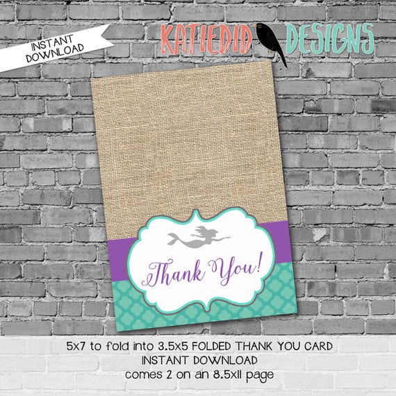 purple teal mermaid invitation under the sea baby shower rustic chic burlap Mermaid 1st birthday THANK YOU CARD folded 1365 Katiedid Designs