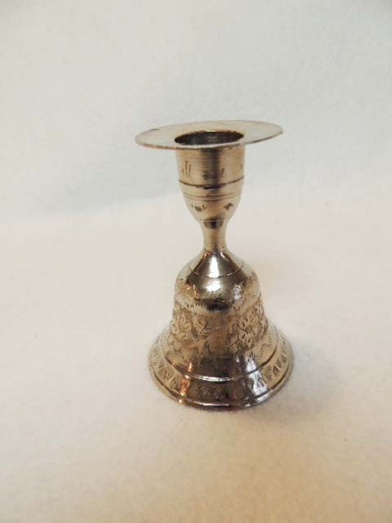 Vintage Combination BELL CANDLESTICK Candleholder Silverplate Intricate Design