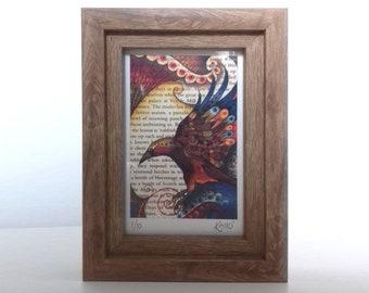 Written Raven – Framed Intricate Illustration, Autumn Bird, Fantasy Print, Majestic Wall Art, Hand Drawn, Beautiful Detailed Picture