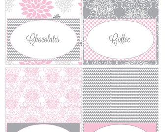 Pink and Grey Dahlia Printable Food Tent Cards