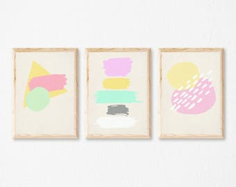 Set of 3 Prints, Pastel Wall Art, Minimalist Pastel Prints, Modern Art