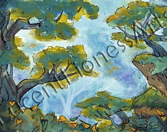 ORIGINAL * Mystical Forest Watercolor Painting