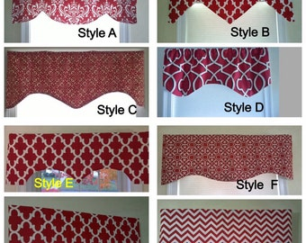 Red window valance, red valance, lined window valance, decorative valance, lined red valance, window curtain, window treatment