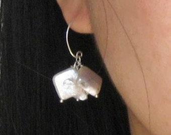 cushions - square pearl earrings