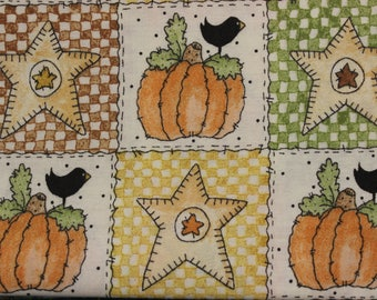 "Vintage Fall print Pumpkins Crows Leaves Dots Patchwork on cream  by Linda Stubbs 44-45"" wide 100% cotton"