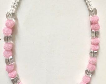 Choker using pink velvet bead