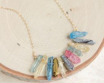 Aura Quartz Necklace, Rainbow Mystic Quartz, Crystal Point Necklace