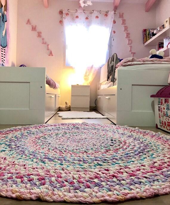 Round Pastel Coloured Rug Unicorn Rug Girls Room Rug