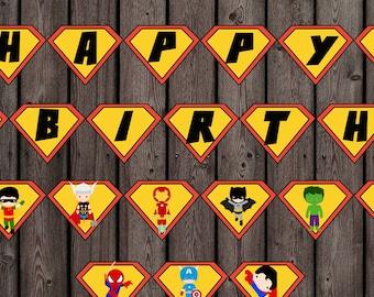 superhero birthday banner, INSTANT DOWNLOAD Super Hero banner digital printable, superhero banner digital, happy birthday superhero banner