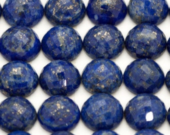 10mm ONE Gorgeous Checkerboard Cut Round Blue Lapis Cabochon | Round Lapis Cabochon Rose Cut | 10mm Lapis Lazuli Cabochon