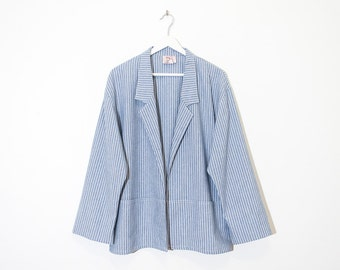 on sale - light blue & white striped blazer / lightweight open chambray jacket / size L / XL