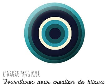 Cabochon fancy 25 mm infinite circles abstract colors teal white ref 1308