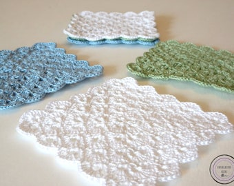Scallop Crochet Doily Coasters - Crochet Coasters - Doily Coaster - Blue White Green Coasters - Scallop Crochet - Crochet Drink Coasters