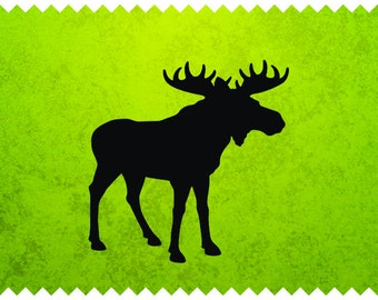 Moose silhouette - svg - ai - dxf - cdr - pat - jpeg - png - pdf - wmf - docx - Printable Clipart - Iron on Transfer -  Laser Engraving